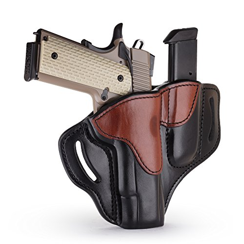 """1791 GUNLEATHER 1911 Holster, Right Hand OWB Leather Gun Holster for belts fits all 1911 models with 4"""" and 5"""" barrels (1911 Combo Polished Black & Brown)"""