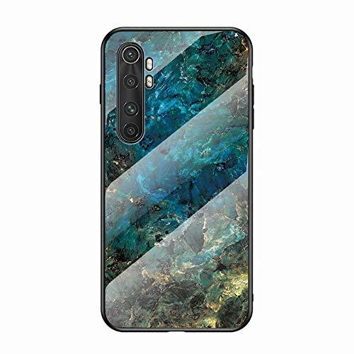 Miagon Glas Handyhülle für Xiaomi Mi Note 10 Lite,Marmor Serie 9H Panzerglas Rückseite mit Weicher Silikon Rahmen Kratzresistent Bumper Hülle für Xiaomi Mi Note 10 Lite,Grün