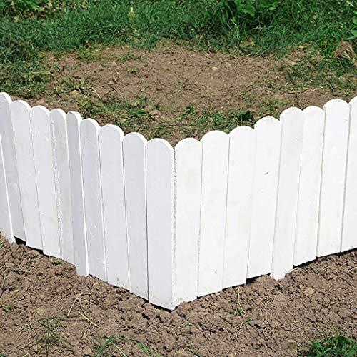 NSYNSY Massivholz-Gartenzaun Setzen Sie die Rasenkantendekoration EIN Innen- / Außenpflanzen- / Blumenschutzweiß (Größe: 100x40cm)