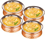 Copper Stainless Steel Serveware Bowls Set - Serving Bowls for Cereal, Soup, Cooked Food Party Serveware, Set of 4 (23.7-Ounce)