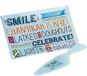 Rite Lite 8 Nights, 8 Lights Chanukah Glass Tray and Server Set