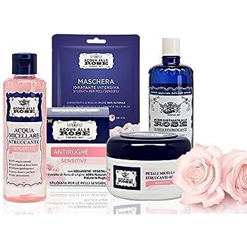 Acqua alle Rose, Kit Skin Care Routine Sensitive, Cofanetto di Bellezza Per La Pelle Sensibile con Acqua Micellare, Tonico, Dischetti Struccanti, Maschera Viso e Crema Viso Antirughe