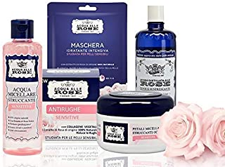 Acqua alle Rose, Kit Skin Care Routine Sensitive, Set di Bellezza Per La Pelle Sensibile con Acqua Micellare, Tonico, Disc...