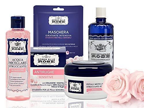 Acqua alle Rose, Kit Skin Care Routine Sensitive, Set di Bellezza Per La Pelle Sensibile con Acqua Micellare, Tonico, Dischetti Struccanti, Maschera Viso e Crema Viso Antirughe