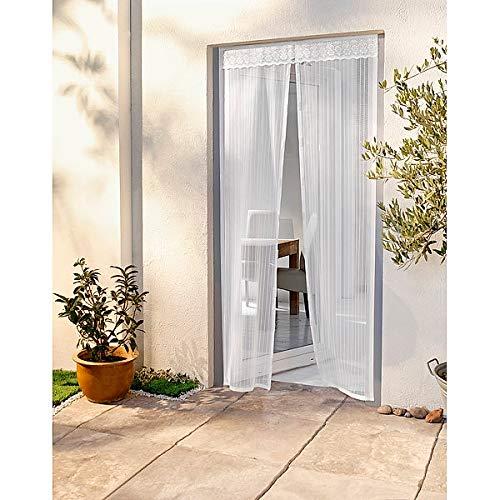 W Moskitonetz mit Magnetverschluss | Fliegengitter für Balkontüren | Insektenschutz | 100 x 215 cm | einfache Montage ohne Bohren und Schrauben | weiß