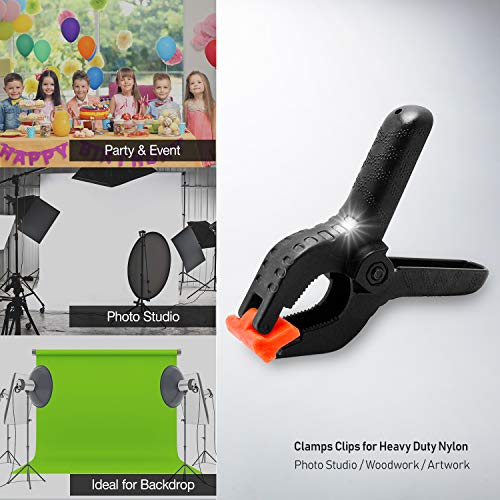 LimoStudio [6 PCS] Photo Spring Clips for Studio, Backdrop Clamp, Background Clamps, 3.75 inch Muslin Spring Clamp Clip for Fabric, Paper, Canvas, AGG1242