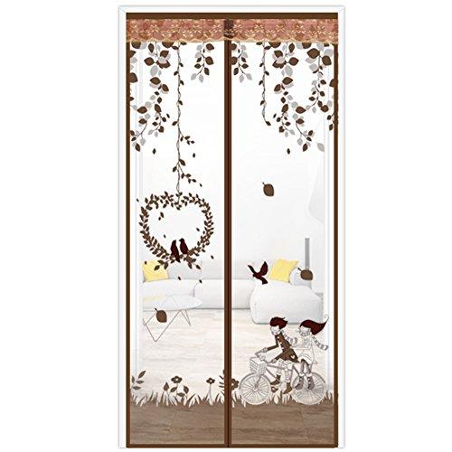 JYXJJKK Haushalt magnetische weichen Vorhang,Stillen Anti-moskito-Vorhang-Kaffee Farbe 90x210cm(35x83inch)