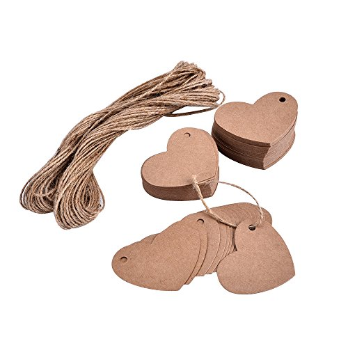 eBoot 100 Pieces Heart Shape Kraft Paper Tags Gifts Tags Wedding Paper Tags with Twine, Brown