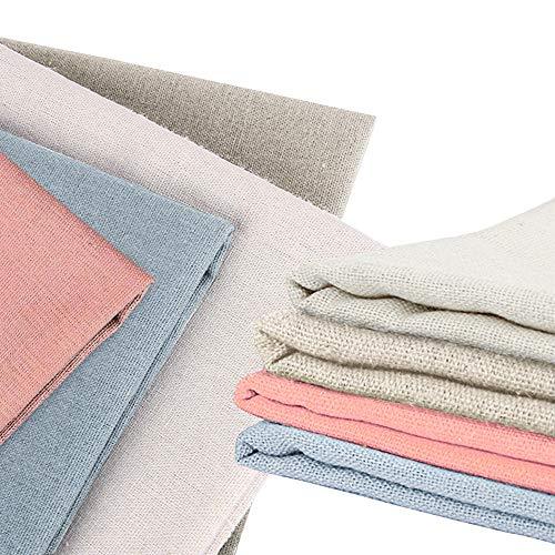 XCOZU 4 Stück Leinenstoff, Naturleinengewebe Leinenstoffe Meterware, 50 cm, Kreuzstich Stoff Stickerei Leinenstoff für die Herstellung von Kleidungsstücken Basteln Stickerei Dekoration und Tischdecke