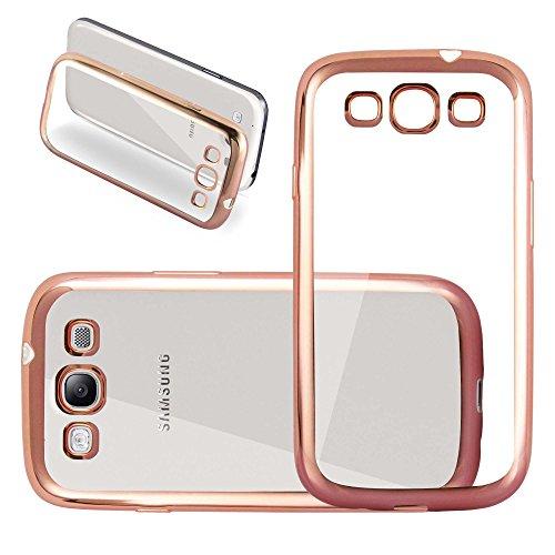 Cadorabo Custodia Silicone per Samsung Galaxy S3 / S3 Neo TPU Cromo in Oro Cromo – Morbida Cover Protettiva Super Sottile con Bordo Protezione – Back Case Ultra Slim Gel Bumper Fina