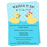 Gender Reveal Party Shower Invitations Waddle it Be Invites Boy or Girl Rubber Ducks Ducky Polka Dots Customized Printed Invites (12 Count)