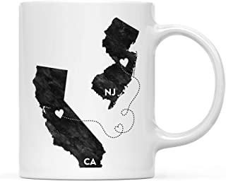 Andaz Press 11oz. Coffee Mug Long Distance Gift, California and New Jersey, Black and White Modern, 1-Pack, Moving Away Graduation University College Gifts for Him Her Relationships