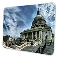 マウスパッド ゲーミングマウスパッド-青い空の下でアメリカ合衆国議会議事堂写真 滑り止め デスクマット 水洗い 25x30cm
