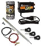 Ellofence Kit de iniciación para valla de pastos (incluye dispositivo para vallas, hilo de cerca, estaca y aislantes – dispositivo extremadamente silencioso 230 V)