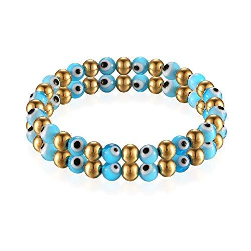 Flongo Damen-Armband Perle-Armband Kugelkette, Edelstahl Armband Armreif Perlenarmband Hell-Blau Gold Golden Böse Evil Teufel Eye Auge Gebet Kugel Perle Perlen Damen Accessoires
