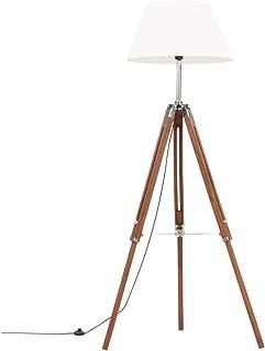 vidaXL Bois de Teck Lampadaire à Trépied Marron Lampe sur Pied Lampe à Piédestal Salon Salle de Séjour Maison Intérieur Mi...