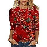 Camiseta de manga larga para mujer, estampado de girasol de mariposa, suelta, informal, con cuello en O, Mariposa roja., M