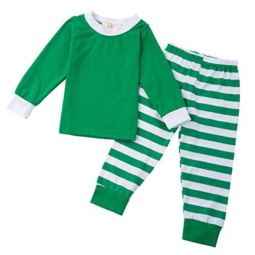 Maedchen Weihnachten Gruen gestreifte Baumwolle T-Shirt + Hose 2pcs 90cm CLAM1009-2