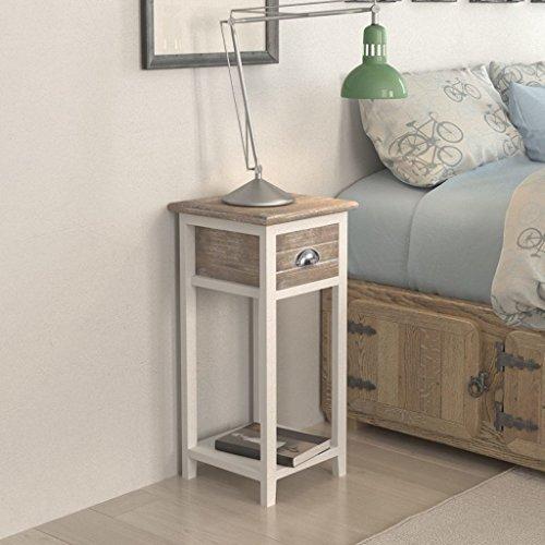 Vislone Mesita de Noche con 1 Cajone Cómoda de Noche Mesita de Noche para Teléfono Mueble de Dormitorio Marrón y Blanco 30x30x63cm