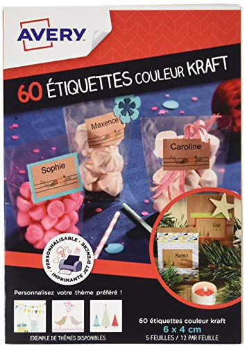 AVERY - Sachet de 60 étiquettes couleur kraft, Personnalisables et imprimables, Impression jet d'encre