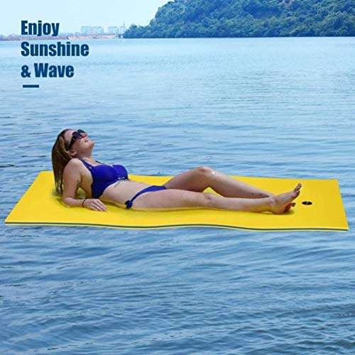 no branded Floating Water Pad, 3-Layer Tear-Resistant XPE Foam Mat, Roll-Up Floating Island for Pool Lake Ocean Boat (72' X 23')