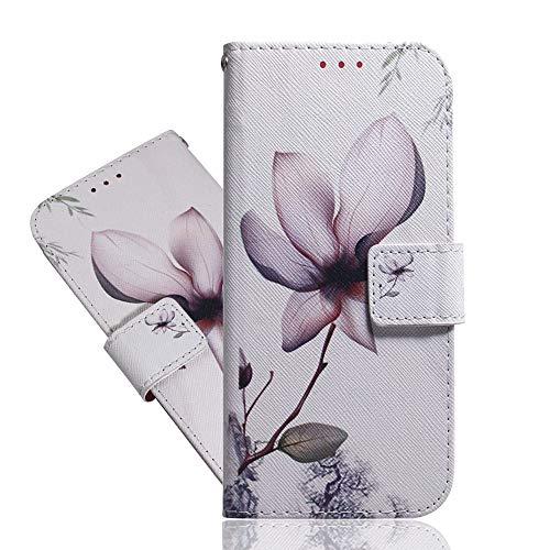 IMEIKONST Flip Funda para Zenfone MAX Pro (M2) ZB631KL, Cool Painted PU Cuero Case Magnetic Antigolpes Card Holder Wallet Protective Stand Funda para ASUS Zenfone MAX Pro (M2) ZB631KL Magnolia TXZH