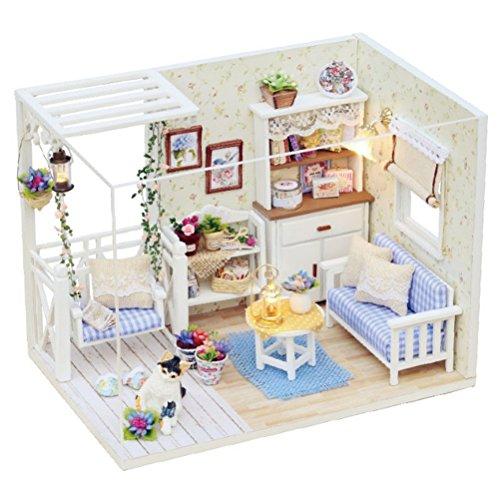 TOYMYTOY Hölzernes Puppenhaus Miniatur DIY Holzhaus Kit Handgemachte Haus Modell mit Möbeln (Katze)