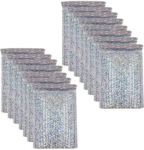 Bolsas de correo holográficas con burbujas de polietileno, bolsas de envío para joyas, sobres acolchados con cierre automático, 15 unidades (6 x 9 pulgadas)