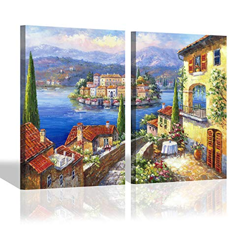 Italian Seaside Canvas Wall Art - European Italy Town Artwork Oil Painting Picture for Bedroom (24'' x 18'' x 2 Panels)