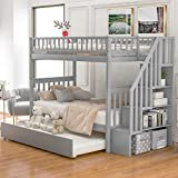 SOFTSEA Twin Over Twin Bunk Bed with Trundle and Stairs, Wood Bunk Beds for Kids Teens(Grey)