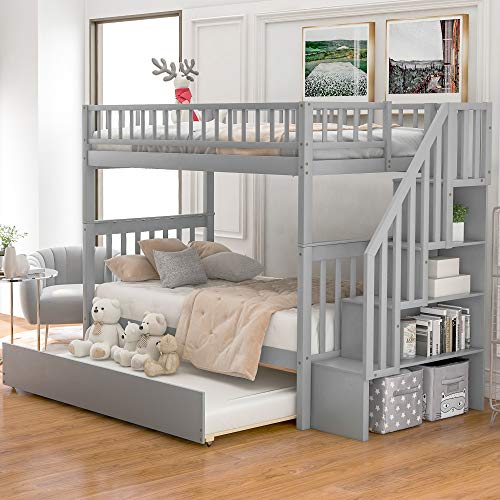 Merax Solid Wood Bunk Bed with Storage for Kids, Twin Over Twin Bunk Bed with Trundle and Staircase (Grey)