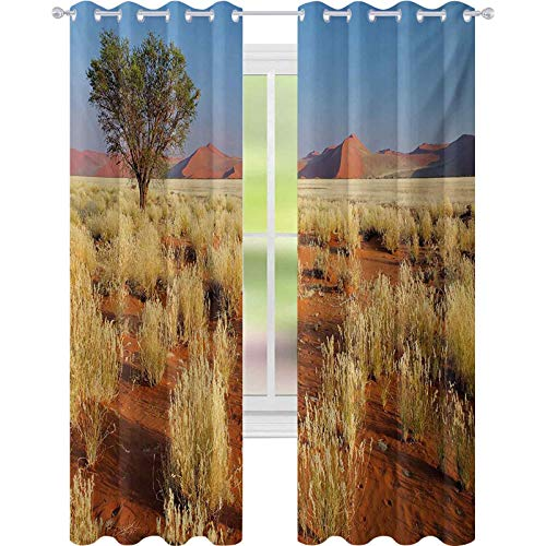 Room darkening window curtains, Acacia Tree Desert Sossusvlei Namibia Southern Africa Photo, W52 x L72 Window Curtains for Living Room, Marigold Sky Blue Green