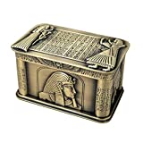 Slivy Vintage faraón Egipcio joyería Caja Cofre del Tesoro - Caso de la baratija de Metal Antiguo con Franela Forro/Anillo Europea Pendientes/Collar del sostenedor - Caja del Recuerdo del Regalo