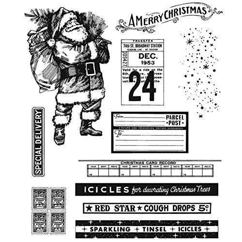 Santa Claus Delivery Gifts Bags Calendar Stamp for Card Making A Merry Christmas Sparkling Tinsel Icicles Words Clear Rubber Stamp for DIY Scrapbooking Paper Crafting Handmade Crafts Photo Album Decor
