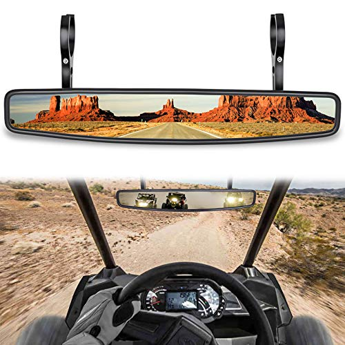 "CALBEAU UTV View Mirror, UTV Rear View Center Mirror, UTV Race Mirror with 3/4 1.75"" or 2"" Clamps Compatible with 2021 Polaris RZR, Honda Pioneer, Can Am Commander Maverick, Honda Talon 1000R 1000X"