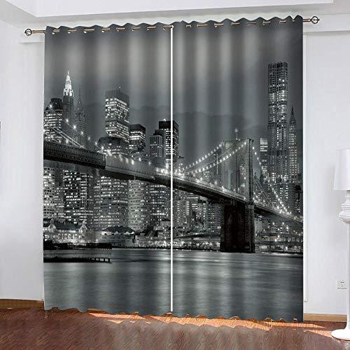 Gardinen Blickdicht New York Bridge bei Nacht Verdunklungsgardine Ösen Gardinen Vorhang Polyester Blickdicht...