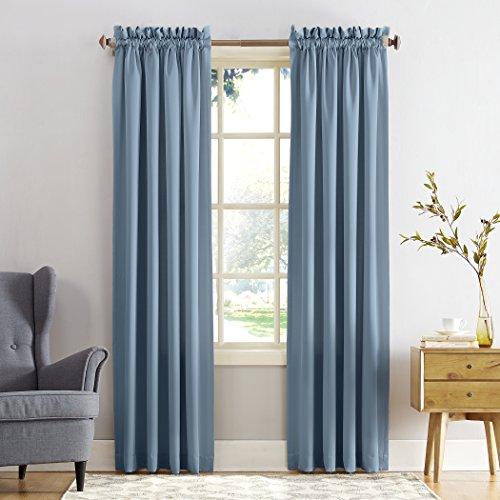 "Sun Zero Energy Efficient Rod Pocket Curtain Panel, 54"" x 84""-1, Vintage Blue"