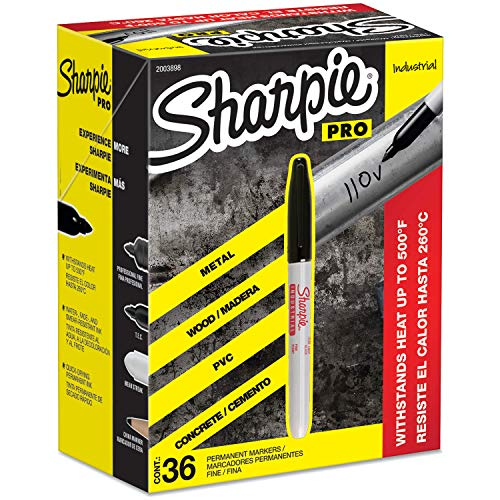 Sharpie Industrial Permanent Markers Fine Tip Black 36 Count