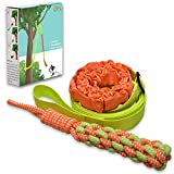 Outdoor Hanging Bungee Dog Tug Toy,Interactive Tug-of-War Game for Pitbull & Small to Large Dogs,Durable Tugger to Exercise and Fun Solo Play with a Indestructible Rope Chew Toy (Green) (green1)
