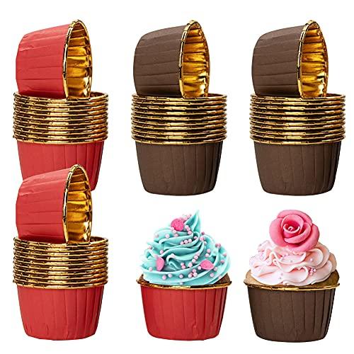 Cupcake Fälle, QSXX 100 Stück Aluminium-Folien Papierbackförmchen Mini Muffins Papierförmchen Cupcake Formen Backen für Geburtstage, Hochzeiten, Partys, 4 x 7 x 5 cm(Braun und Rot)