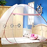 YSpring Single Gate Foldable Pop Up Mongolian Yurt Mosquito Net for Summer Anti-Mosquito (Pink, 5.9feet)