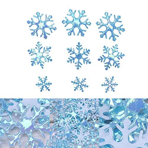 STOBOK 600 piezas de tamaño mixto azul brillo copos confeti plástico brillo copos nieve adornos para decoración de fiesta de cumpleaños