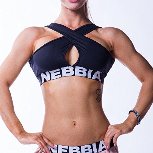 Nebbia Beautiful Inside and Out Frauen Gekreuzter Sport BH 622 (Gr. S, Schwarz)