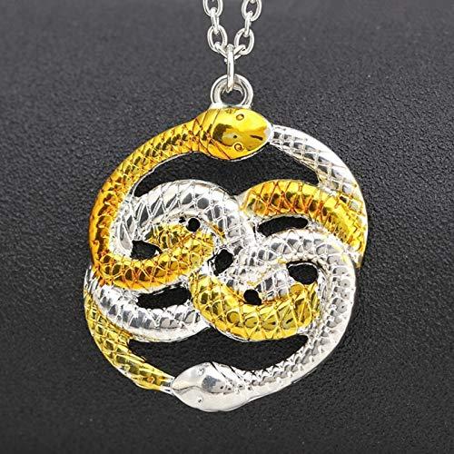 guodong Die Neverending Story Halskette Never Ending Auryn Ouroboros Schlangen Infinity Knot Anhänger Amulett Gold Modeschmuck