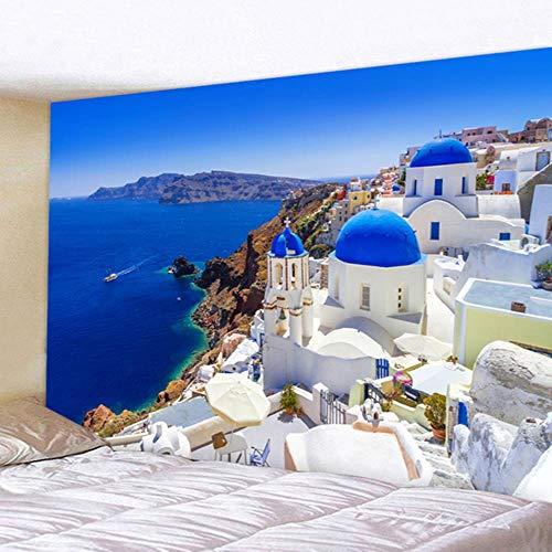 Hermoso tapiz de pared con estampado azul natural, con vista al mar, hippie, para colgar en la pared, bohemio, decoración de pared