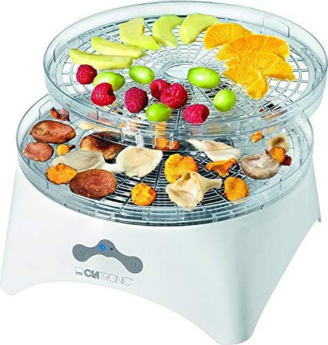 Clatronic DR 3525 Dörrautomat (300 Watt, trocknet Obst, Gemüse, Kräuter, Fleisch und mehr, 5 stapelbare Ebenen, 2 Temperaturstufen) weiß