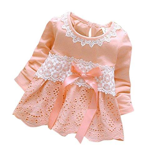 Amlaiworld Baby Blumen Hohl Spitze Prinzessin Kleider Mädchen weich Langarm Bowknot Niedlich Kleidung,0-36Monate (6 Monate, Rosa)