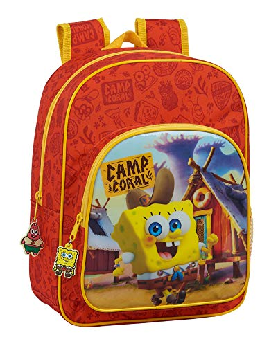 Safta 612083185 Mochila Escolar Infantil de Bob Esponja adaptable a carro, Naranja/Amarillo, Único