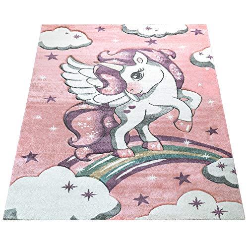 Amazon Brand - Umi Alfombra Juegos Estrellas Pelo Corto Unicornio Diseño Nube Color Gris Rosa Pastel Arco Iris, Color:Rosa, Tamaño:80x150 cm
