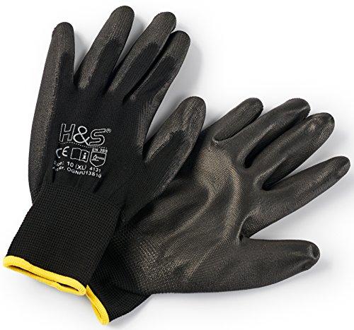 12 Paar Arbeits-Handschuhe von ISC H&S, Nylon, PU-beschichtet | verfügbar in S small (7), M medium (8), L Large (9), XL x-Large (10), XXL xx.Large (11) | nahtlos, vielseitig, schwarz, Größe 10 (XL)